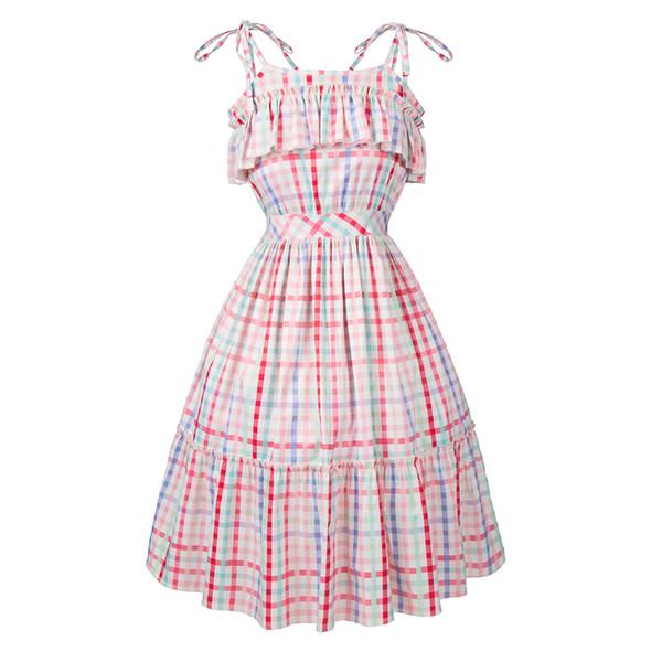 2018 Popular Styles Summer New Printing Retro Waist Slim Big Pendulum Dress Wholesale Retail Discount Store
