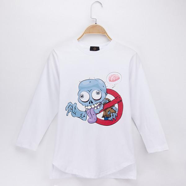 2018 New Kids Clothes Children T-shirt Zombie Print 100% Cotton Full Long Sleeve Boys T Shirts Baby Shirt Girl Tops Teens Tee Free Shipping