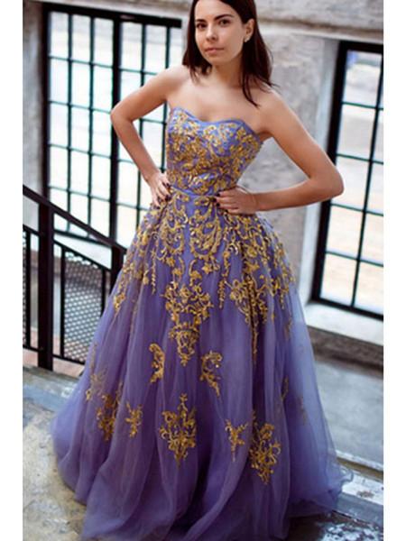 Yeni Bir Çizgi Gelinlik Modelleri Sevgiliye Kolsuz Kat Uzunluk Altın Dantel Aplike Örgün Abiye Parti Elbise Custom Made
