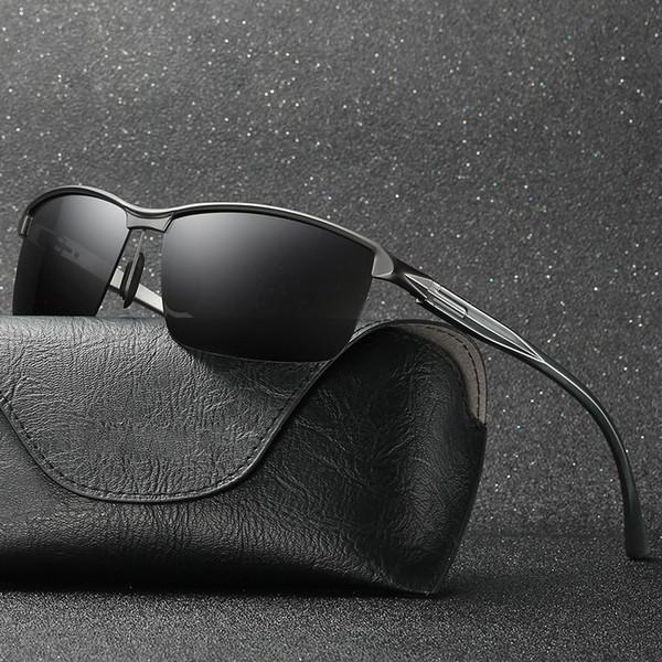 Hindfield 2018 Polarized Sunglasses Men Aluminium Magnesium Metal Driver Mirror UV400 High Quality Fashion Rectangle Sun Glasses