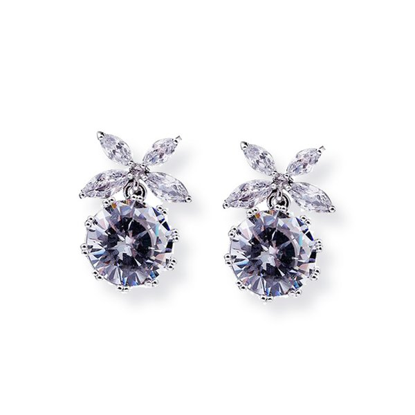 fine jewelry 925 silver crystal four-leaf flower pattern inlaid zircon earrings to send Valentine gifts wholesale free shipping