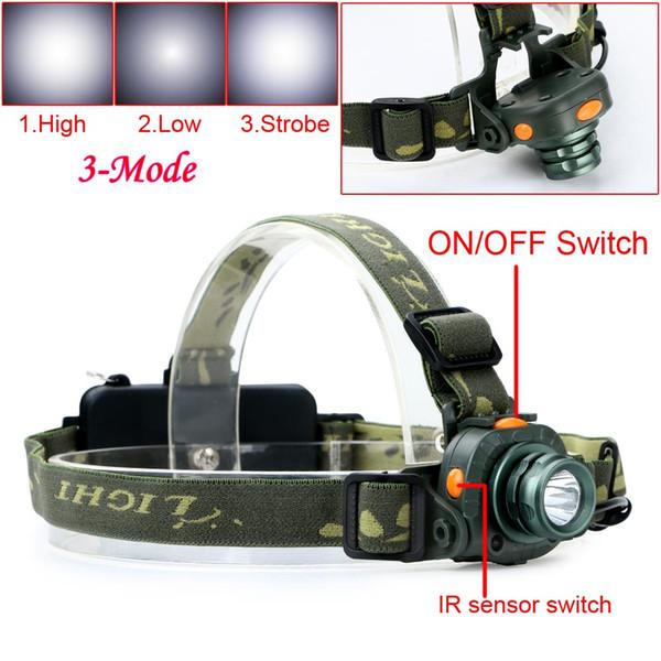 Linterna Cree Q5 Led 2000lm Led Proyector de Sensor de Movimiento Sensora Sensor de Luz de Cabeza de Caza Que Acampa Linterna Para 1x18650 / 3xaaa