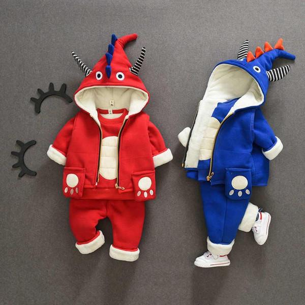 Kids Coat Vest Pant 3Pcs/sets 1-5T Children Sets 3Colors Baby Boys Girls Flannel Kids Coat Pants Kids Sets Spring Winter JCYP0315-2
