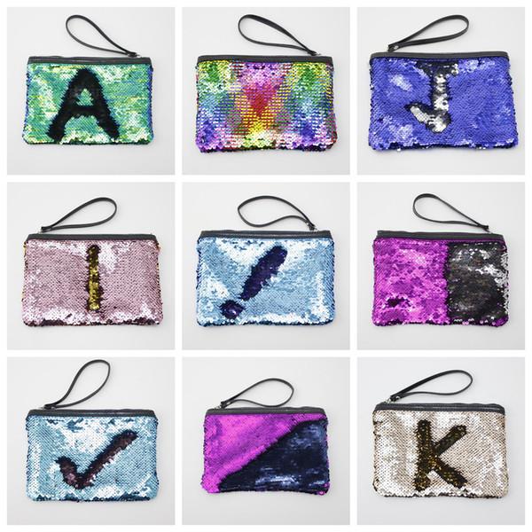 9colors Mermaid Lantejoula Cosmetic Bag Glitter Maquiagem caso Purse Bling sacos de armazenamento Organizer Glitter Bling com corda de viagem Bolsa FFA571