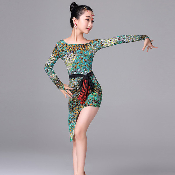 Cheap Latin Dance Dresses For Girl Green Print Long Sleeve Ice Silk Skirts with Belt Tango Student Indian Ballroom Suits M7113