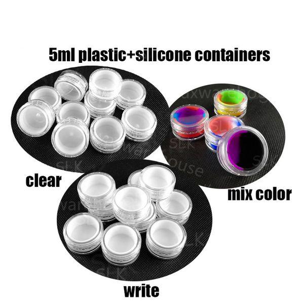 Contenedores de concentrado de cera de aceite de silicona antiadherente tarro 5ml 7ml 10ml platino curado alimentos de calidad alimentaria tarro de fumar accesorios