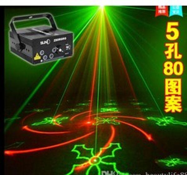 LED Laser Stage Lighting 5 Lens 80 Patterns RG Mini Led Laser Projector 3W Blue Light Effect Show For DJ Disco Party Lights Laser flash lam