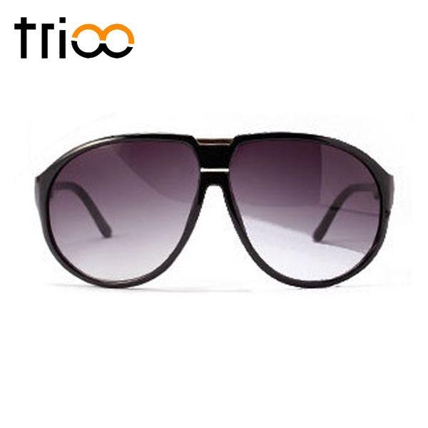 TRIOO Oversized Mens Sunglasses Gradient Grey Lunette Fashion Big Frame Male Sun Glasses 2018 New Stylish UV400 Shades