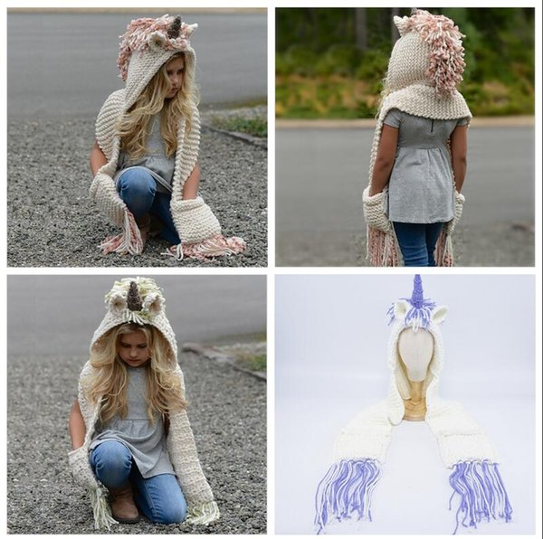 2 in 1 unicorn scarf cap Kids Infant Llama Warm Knitted Hats Children AMUSE cartoon warmer Winter crochet Hat 50pcs 3Colors AAA1013