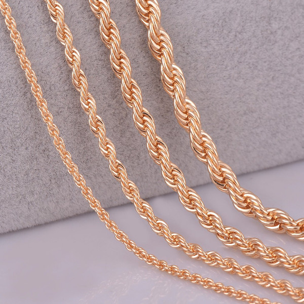 """whole sale26"""" 28"""" 30"""" gold color rope chain necklace 2mm,3mm,4mm,5mm For pendant rope jewelry findings"""