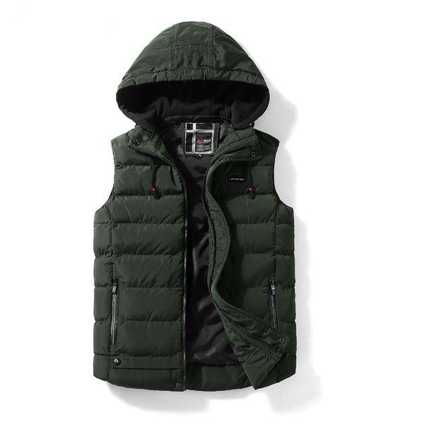 Mens Herbst und Winter Weste Warm Casual Jacken Sleeveless Daunenweste Westen Hoodies Solod Farbe Männlich Kleidung 2018 L-XXXL