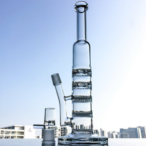 Wholesale Straight Tube Glass Bongs Two Function Dab Rigs 2 Layer Honeycomb Percolator and 2 Layer Turbine Disc Percolator Water Pipes WP261