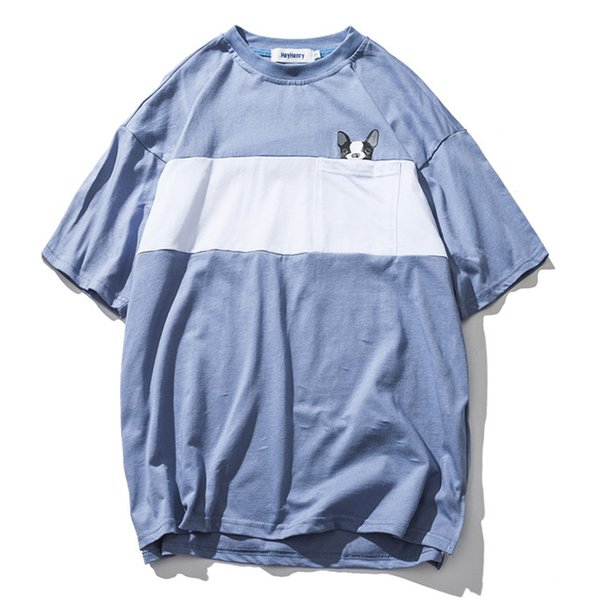 Color Block Patchwork Oversized Tee Shirts Men 2018 Summer Streetwear Loose Style Qute Print T-shirt Men's Tshirts Khaki Blue H8025HL
