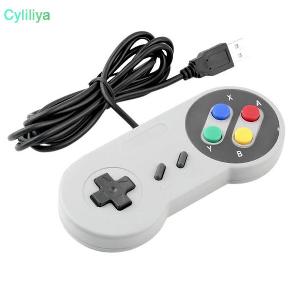 Controlador USB clásico Controladores para PC Gamepad Joypad Joystick Reemplazo para Super Nintendo SF para SNES NES Tablet PC LaWindows MAC Purple