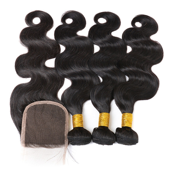 Chinese Supplier 100 virgin human hair extensions wholesale unprocessed Malaysian body wave weave closures and bundles