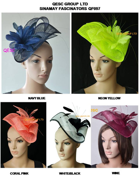 best selling NEW COLOUR.Sinamay Fascinator Hat in SPECIAL shape with feather flower for Ascot Races,Melbourne Cup,Kentucky derby and wedding