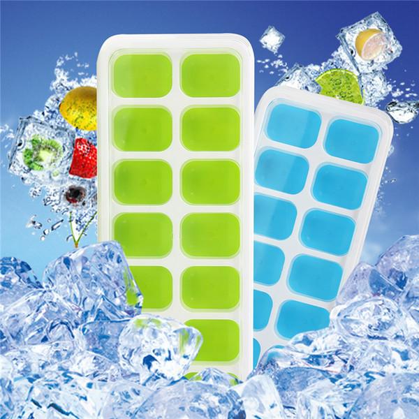 DIY 2 Farbe Eiswürfelbehälter Silikoneisbehälter mit Deckel Easy Release Set 14 Eiswürfel Flexible Eiswürfelform blau grün B