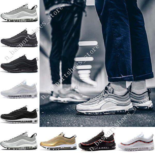 Cheap 97 shoes OG QS Triple white black PRM mens Running shoes for men Metallic Gold Silver Bullet trainer Women sports designer sneakers