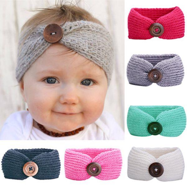 Baby Girls Fashion Wool Crochet Headband Knit Hairband with Button Decor Winter Newborn Infant Ear Warmer Head Headwrap 9 color