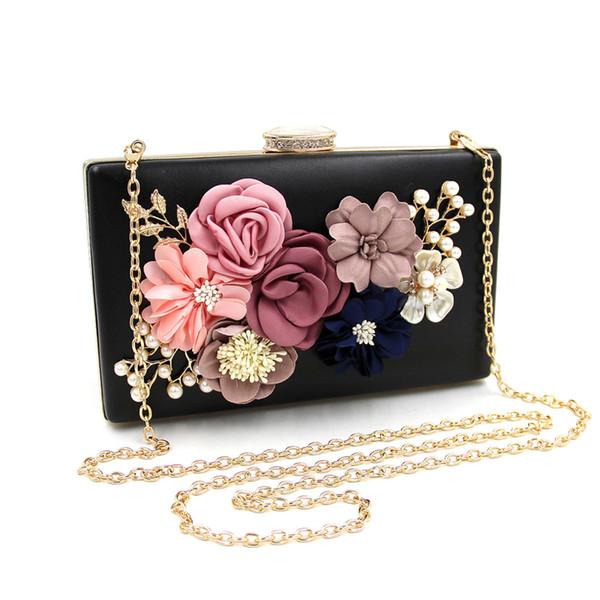 Women Clutch Bags Floral Pearl Red Luxury Handbags Leather Evening Bag Wedding Bride Purse Ladies Small Crossbody Shoulder Bags