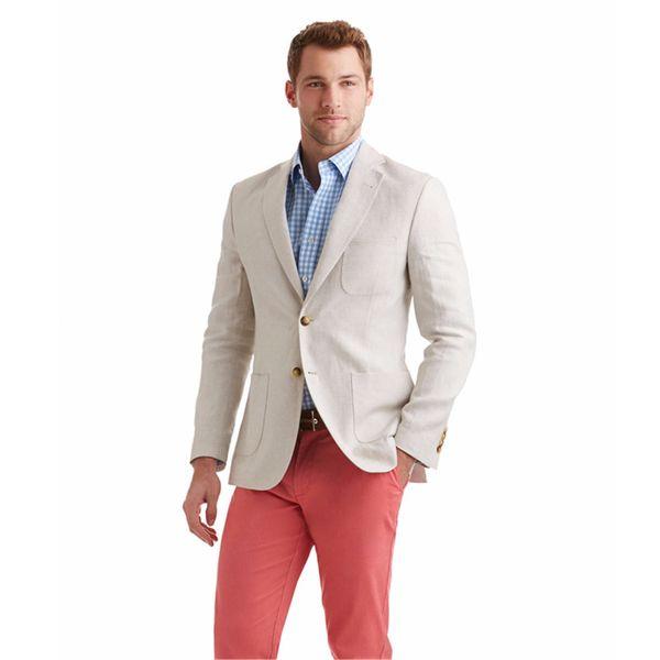 Últimos diseños de pantalón de abrigo Marfil de lino Casual Custom Best Man Slim Fit Beach Men Trajes Summer Blazer 2 piezas Tuxedo Masculino.11