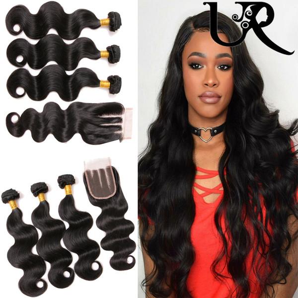 URVENUS Malaysian Human Hair Closure con 3pcs Body Wave Hair Weaves en Natural Color 8A Malaysian Virgin Hair Bundle Deals for sale