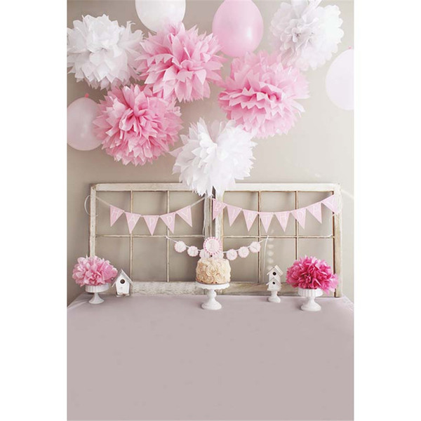 Printed Pink White Paper Flowers Balloons Baby Girl Happy Birthday Photography Backdrops Newborn Kids Headboard Photo Backgrounds for Studio