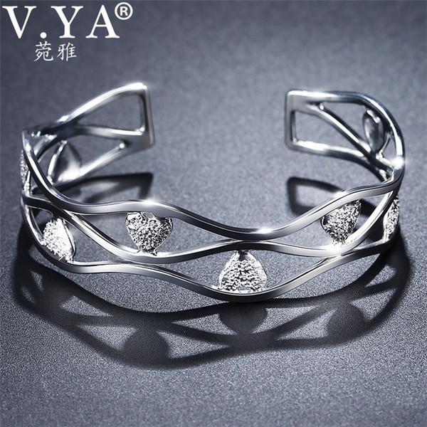 V.YA Solid 999 Sterling Silver Heart Bangle Bracelet for Women Ladies Hollow Design Women's Bangles Jewelry Bijoux
