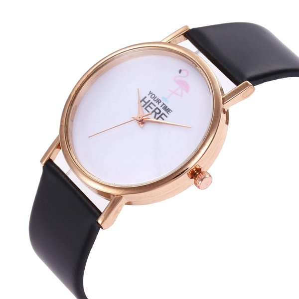 2018 New Ladies Casual Fashion Women Girls Flamingo Leather Strap Bracelet Dress Quartz Analog Round Dial Wrist Watch Gift