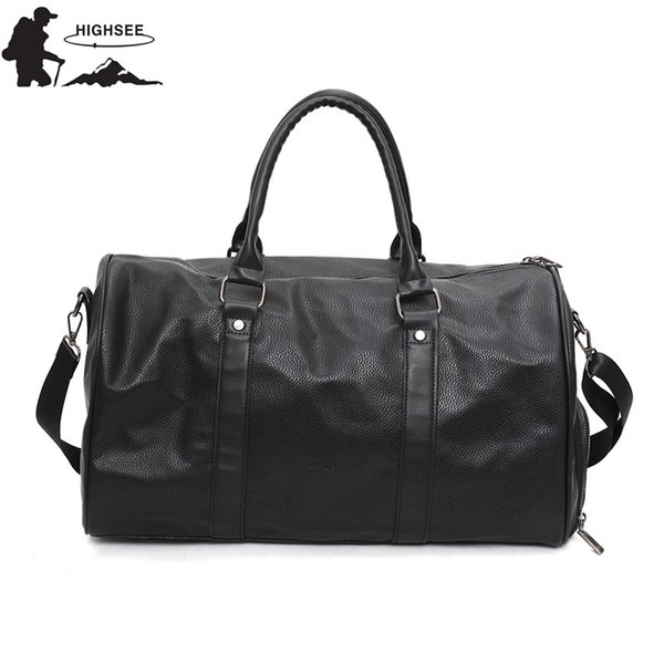 HIGHSEE Fitness Bags Womens Sport Bag For Gym Fitness Bag Men Waterproof PU Travel Shouldee Hangbags Large Capacity Backpack