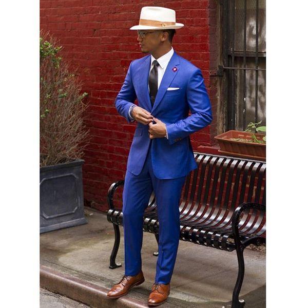 Classic Royal Blue Groom Tuxedos Cheap Slim Fit Notched Lapel Vintage Wedding Prom Men Suit ( jacket+Pants)