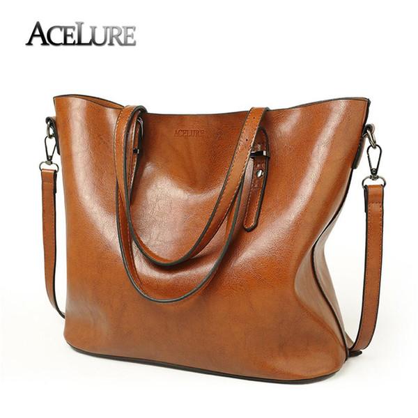 Women Shoulder Bags 2018 Fashion Women Handbags Oil Wax Leather Large Capacity Tote Bag Casual Pu Leather Messenger bag