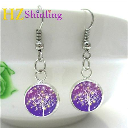 NHE-005 Silver Fish hook Copper Abstract Tree Earrings Charms Art Picture Tree of life Earring Handmade Jewelry
