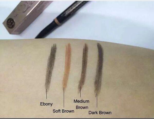 ¡Envío gratis! MAQUILLAJE CALIENTE Mejoradores de cejas Maquillaje de Cejas Flacas Lápiz dorado Double terminó con pincel de cejas 0.2g 4 Color (8pcslot)
