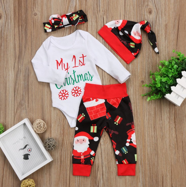 2018 New Christmas Baby Girl Clothes Set Autumn Xmas Toddler Outfits Letter Romper + Santa Claus Pants +Bow Headband +Hat C4024