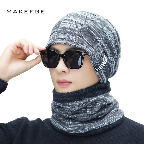 Gorros de algodón de punto de invierno para hombre, cálidos y cómodos, además de terciopelo grueso, gorras de máscara universal de esquí bufanda para hombre Gorros Cráneo