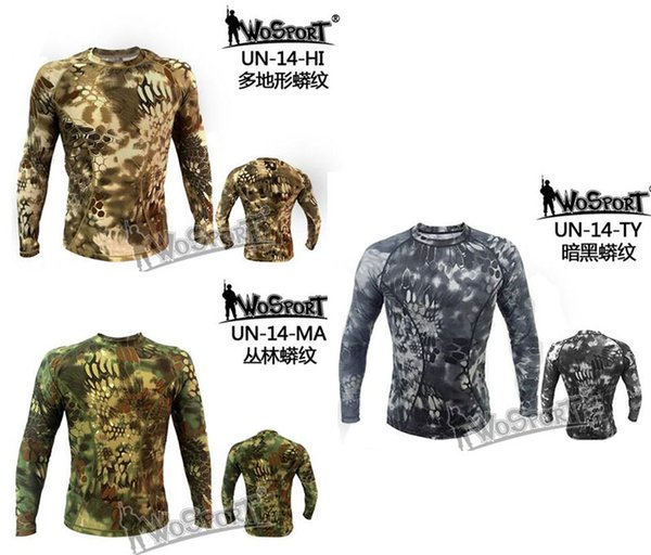 WOSPORT Tactical Camouflage Quick Dry Long-sleeved T-shirt Army Breathable Tights Hunting Clothing Shirts Sportwear
