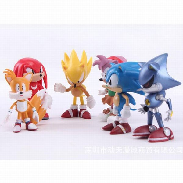 6Pcs/set Anime Cartoon Sonic The Hedgehog 2.5inch Action Figure Set Doll Toys Kids Xmas Gift Collection Cake Topper Party Decoration