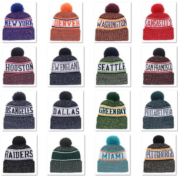 2018 Nouvelle Arrivée Bonnets Bonnets Football américain 32 équipes Bonnets Sports hiver Bonnets en tricot Bonnet Skullies Bonnets Tricotés drop shippping B1