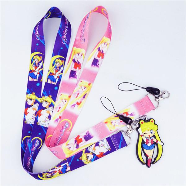 Bonito Sailor Moon Neck Strap Lanyards para chaves ID Card Cartão de Telefone Celular Strap USB Crachá Titular Corda Pingente Anime Chaveiro Presente