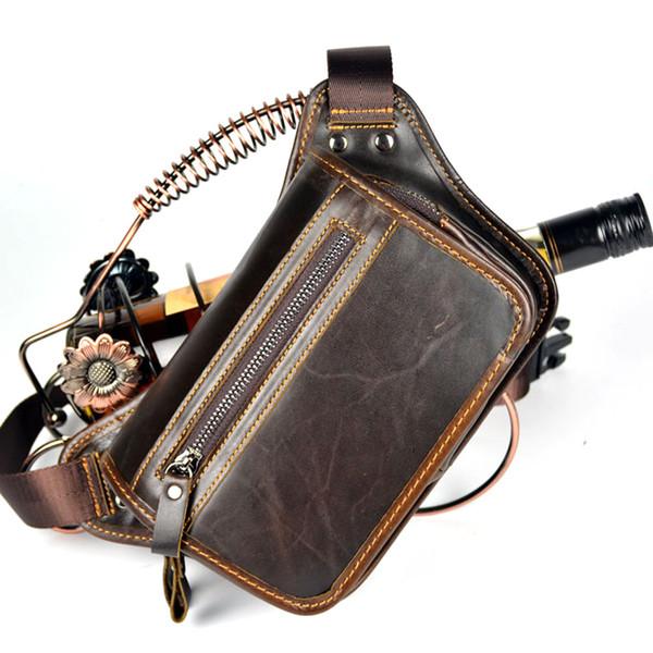 MEIGARDASS Genuine Leather Messenger Bag Men Waist Belt Bag Travel Fanny Pack Waist Pack Male Shoulder Chest Bags Coin Purse