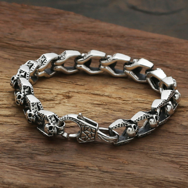 2018 new 925 sterling silver vintage jewelry American luxury brand antique silver hand-made designer thick links mens skull bracelets hot