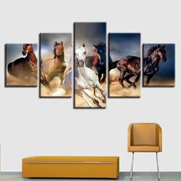 5 Pieces Horses Animal Oil Painting On Canvas Unframed Home Wall Art Print Poster Picture Home Office Interior Decor Fashion Gift