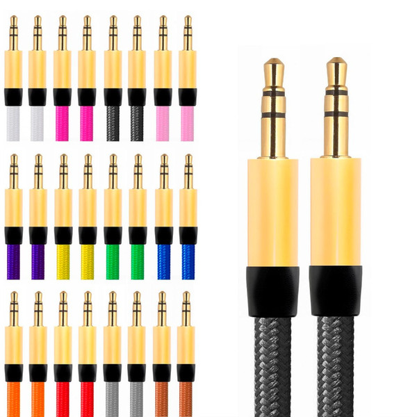 1M 3.5mm Colorful Fabric nylon flat type Car Aux audio Cable Extended Audio cable For iphone 4 5 6 Samsung Mp3