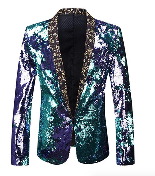 Men Plus Size Double-Color Green Blue Silver Gold Red Black Sequins Blazer Singer Costume Prom Wedding Suit Jacket Outfit