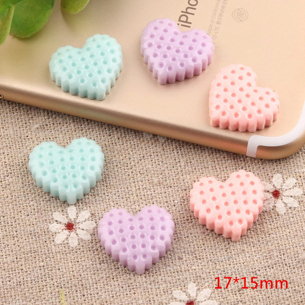 17*15mm Love heart biscuits charms resin cookies food hairdressing hair accessories DIY cream adhesive mobile phone shell