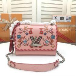 2019 New M50293 Women Flower Print Twist Denim Handbag Purse Bag Pink Messenger Shoulder Bags Crossbody Handbags Totes Boston Bags
