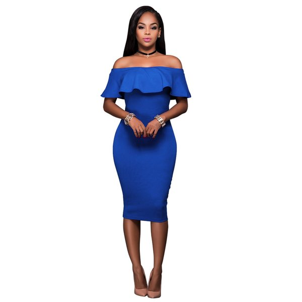 2018 Estate Royal Blue Off The Shoulder Vestito aderente midi Abiti senza maniche per le celebrità delle donne africane senza bretelle