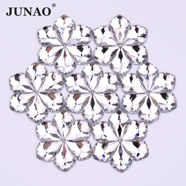 JUNAO 50pcs 28mm Sewing Clear White Color Flowers Rhinestones Appliques Flatback Acrylic Stones Sew On Strass Crystals For Clothes Jewelry