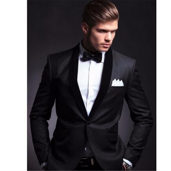 New Fashion Black Men Suits For Wedding 2Pieces(Jacket+Pant+Tie) Latest Coat Pant Design Terno Masculino Groom Blazer